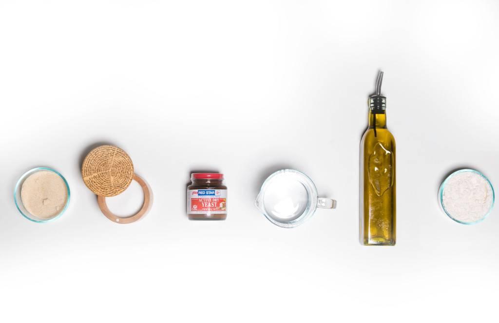 Bun ingredients - flower, yeast, water, oil