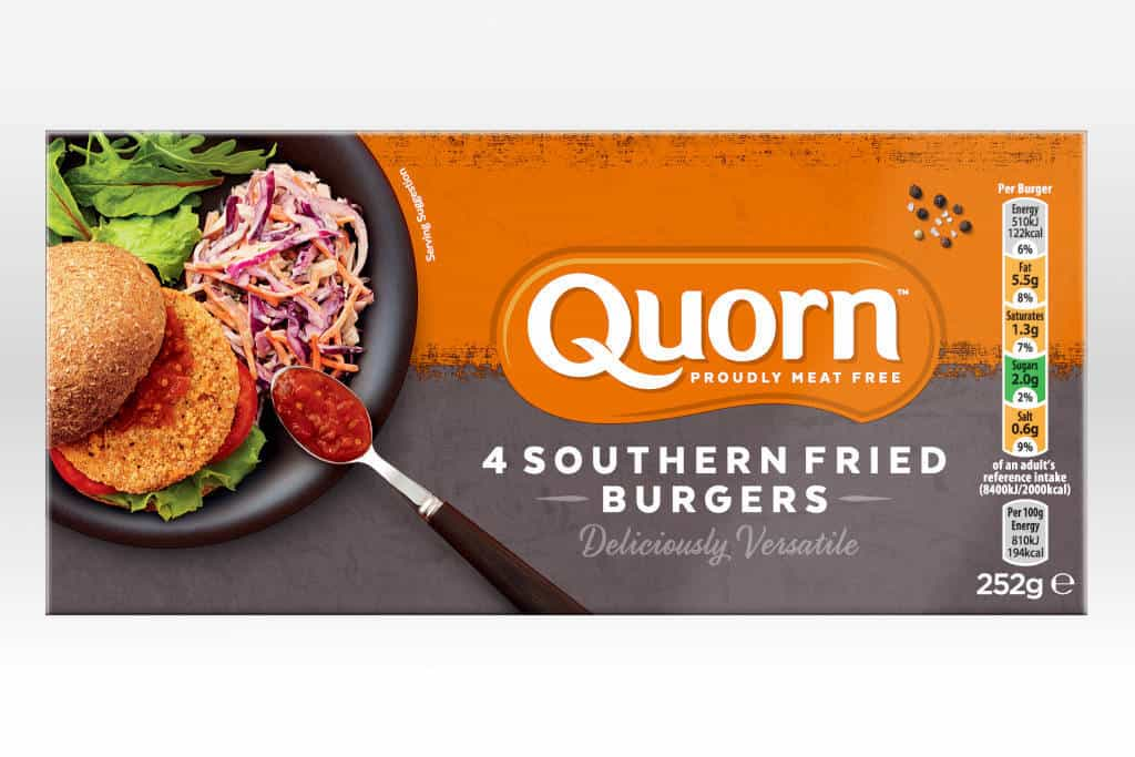 Quorn southern fried burgers package